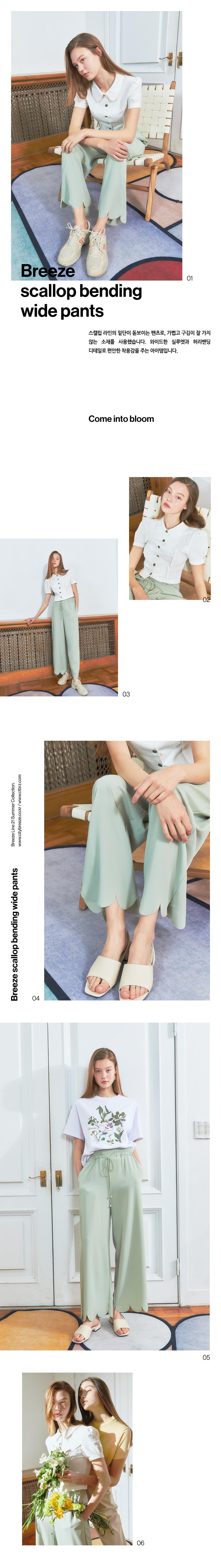 시티브리즈(CITY BREEZE) [BREEZE] Scallop Bending Wide Pants_LIME (CTD1)
