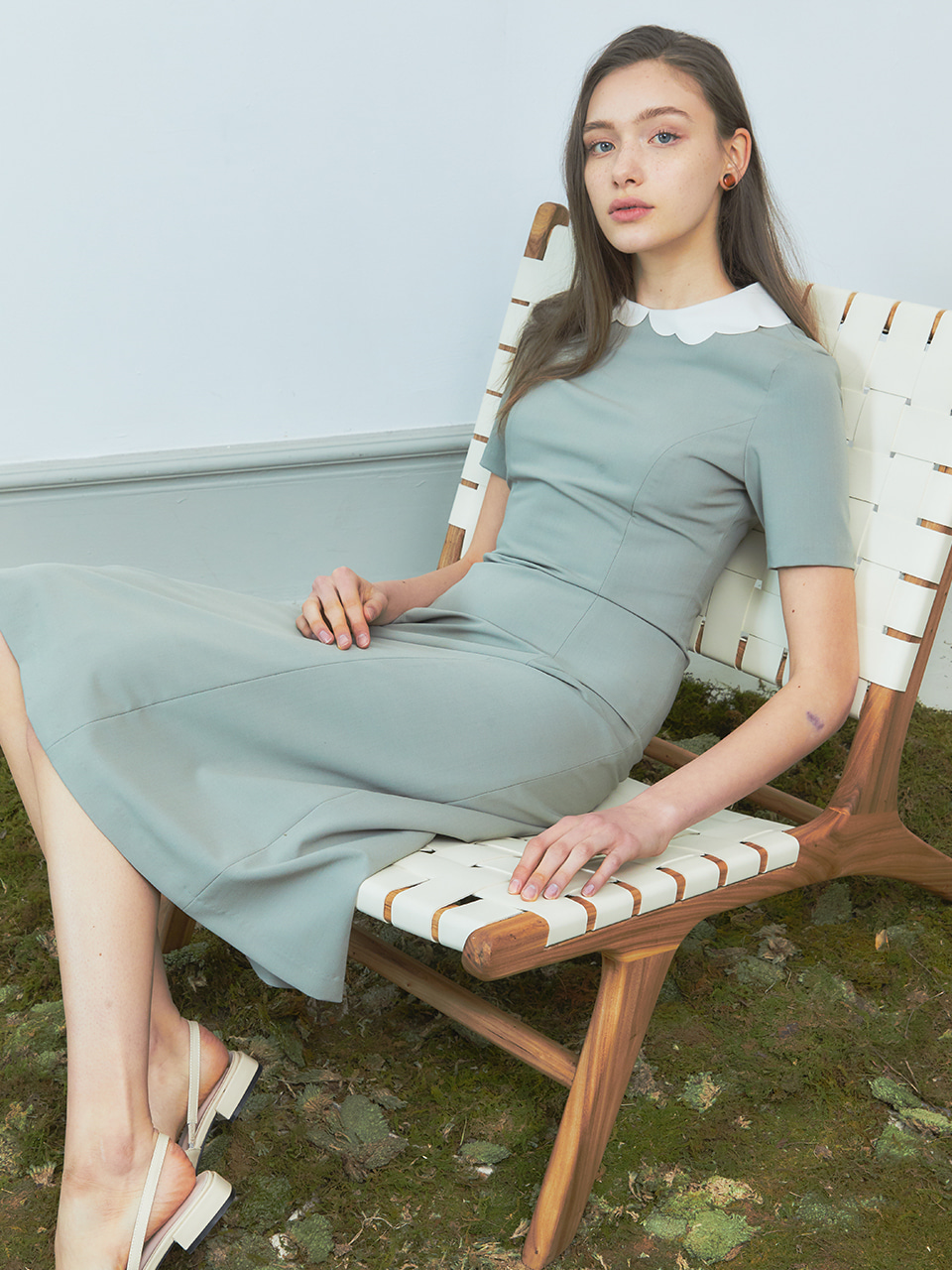 [BREEZE] Scallop Solid Onepiece_MINT (CTD2)