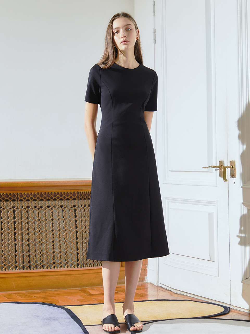 [BREEZE] Jersey Simple Long Onepice_BLACK (CTD2)