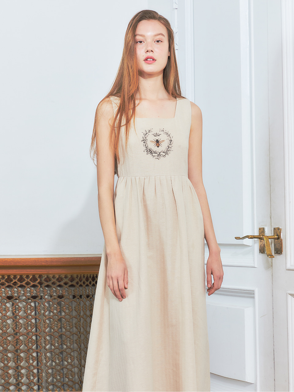 [BREEZE] Honey Bee Sleeveless Long Onepiece_BEIGE (CTD2)