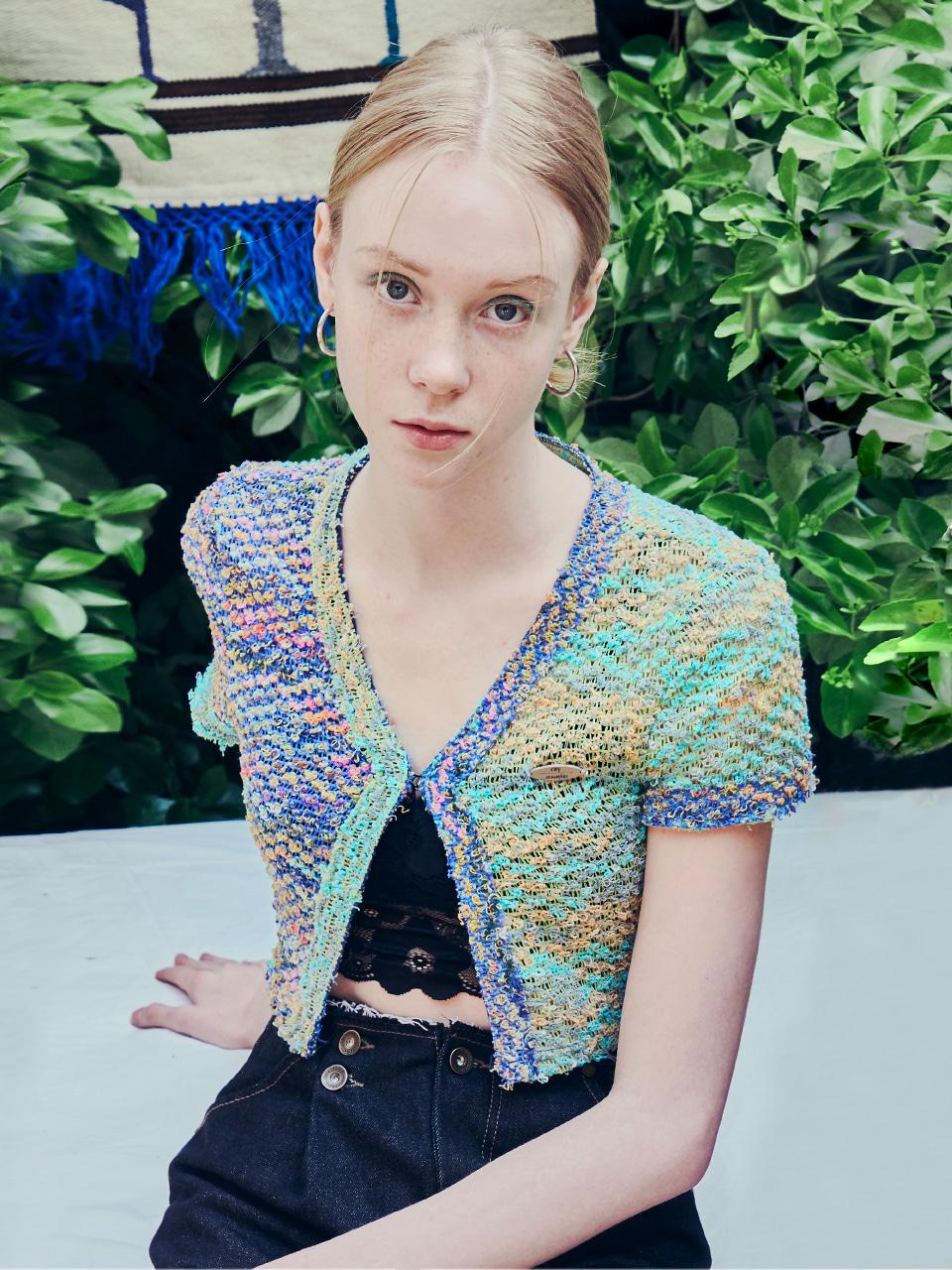 *ITZY 리아 착용* [CITY] Crochet Vintage Cardigan_BLUE (CTD2)