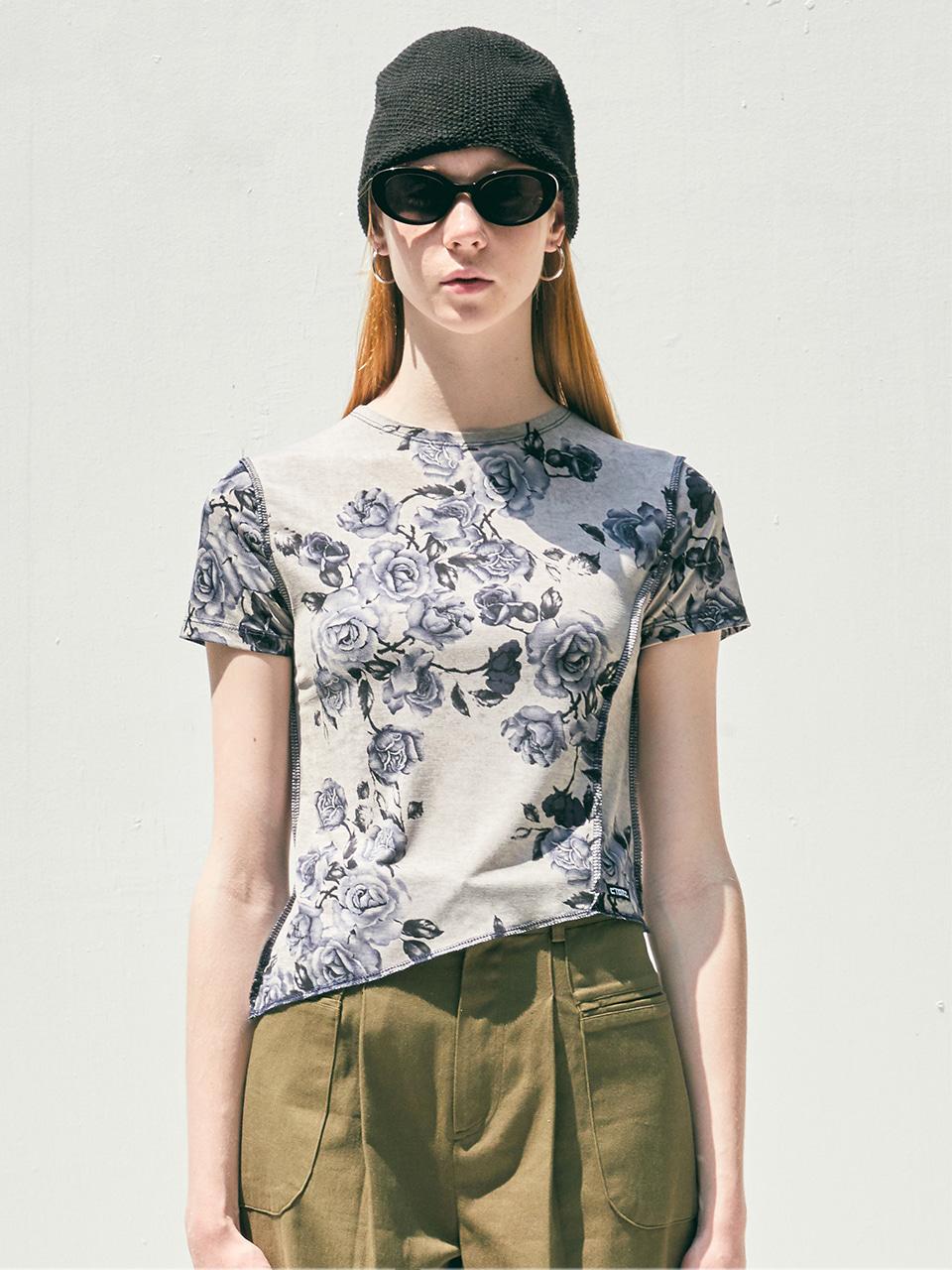 [CITY] Flowery Short Sleeve Tshirt_GREY (CTD2)