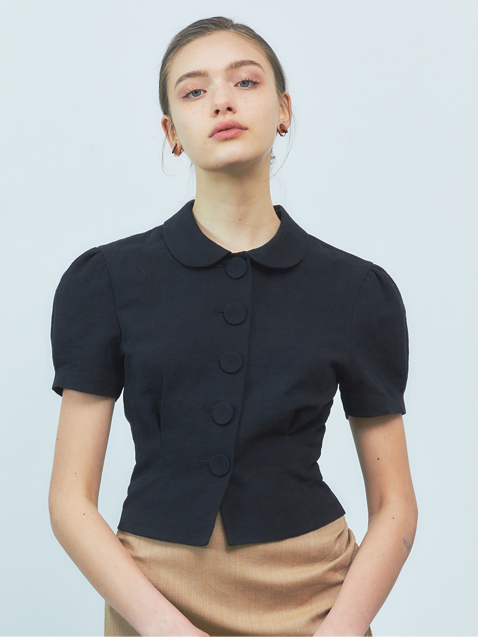 [BREEZE] Round Collar Linen Big Button Blouse_BLACK (CTD2)